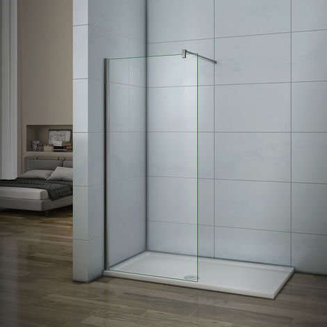 """main image of """"Black/Chrome support bar Optional, Wet room Walk In Shower Enclosure Easy Clean Glass Screen Panel"""""""