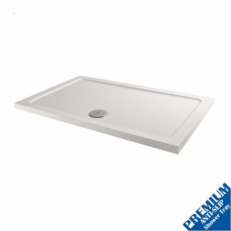 1100x760mm Shower Tray Rectangular Low Profile Premium Anti-Slip FREE Waste