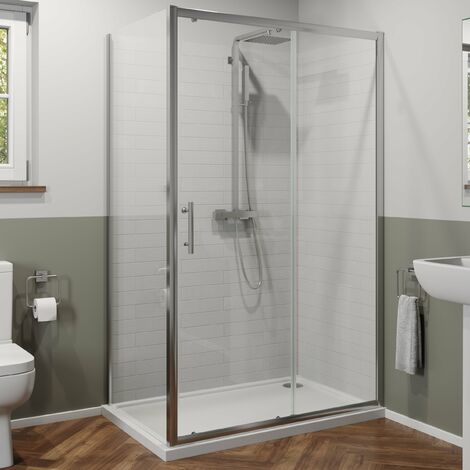 1100x760mm Sliding Shower Door Side Panel Framed Enclosure 6mm Glass Tray Waste