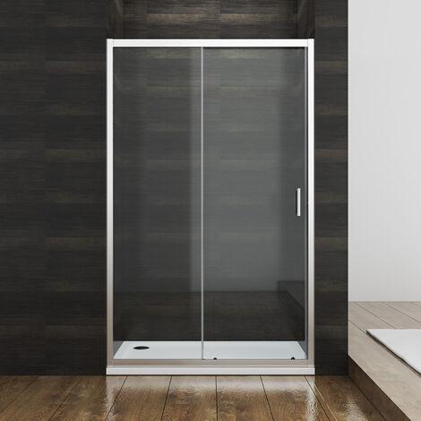 110cm Duschkabine SONNI Schiebetür Duschtür Nischentür Duschwand Glas Duschabtrennung