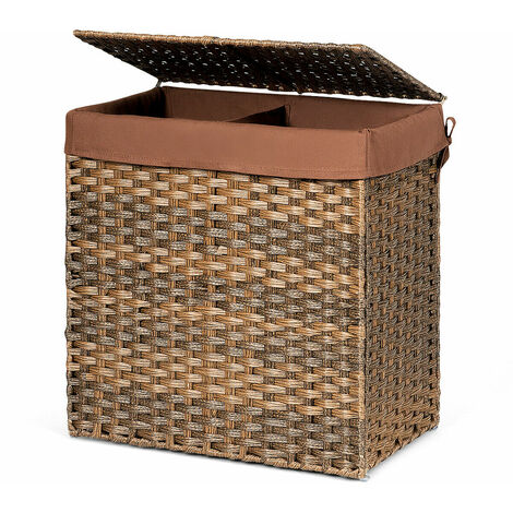 110L Large Laundry Basket Washing Clothes Storage Hamper Tidy Bin Hand-woven Brown