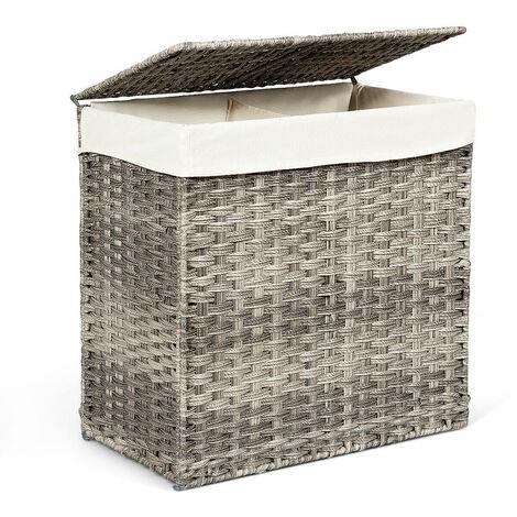 110L Large Laundry Basket Washing Clothes Storage Hamper Tidy Bin Hand-woven Grey