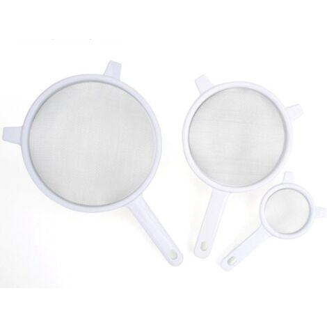 111618 Tamis de Cuisine Plastique Blanc 3pcs