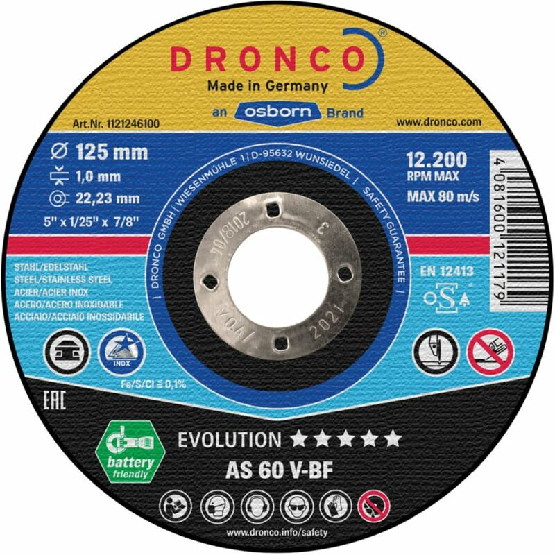 Image of 115MM X 1.0MM Evolution Cutting Disc As 60 V-bf - Dronco