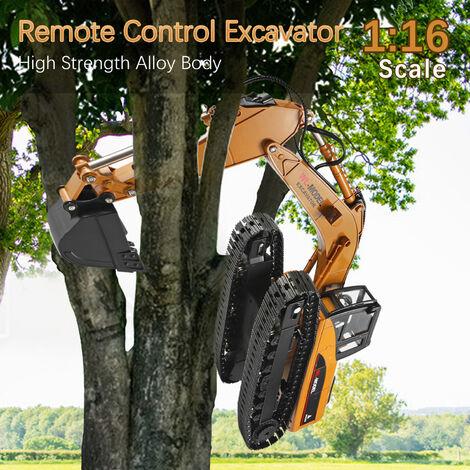 1:16 electrique Telecommande Pelle Toy Camion Rc Construction Tracteur Sound Light Non Toxique Fumee Rc Pour Voiture Garcons Filles Adulte, Jaune