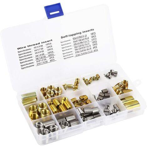 116pcs Filets Rapportés et Insert de Filetage Autotaraudeur en Acier avec Boîte de Rangement, Outils de Réparation de Filetage pour 2D M3 / M4 / M5 / M6 / M8 / M10 / M12