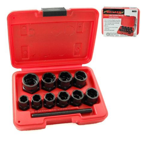 11PC Socket Set Locking Wheel Nut Remover For Broken Stud & Rounded Bolts  CT1058