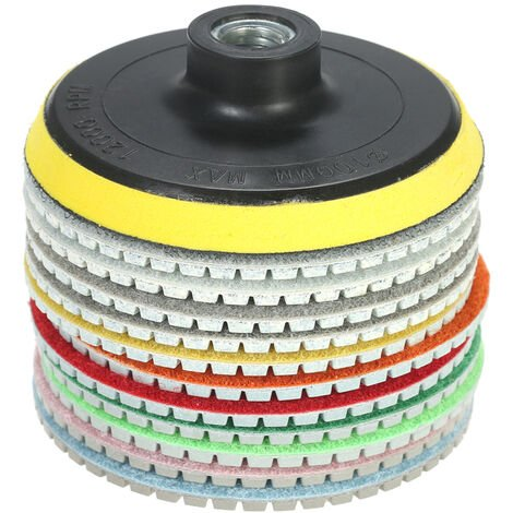 "11pcs 4"" Diamond Wet Polishing Pads Grinding Disc + 1pc Backing Pad"