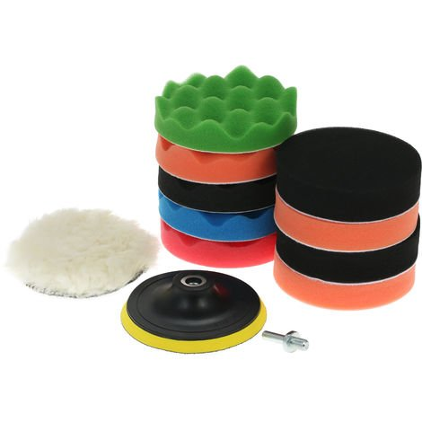"11PCS 5"" 125mmCar Polishing Pads Waxing Buffing Pad Sponge Kit Set"