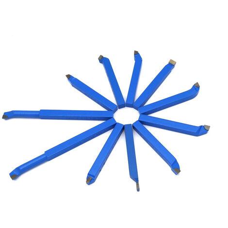 11pcs de metal duro de soldadura Herramientas Torno CNC herramienta de corte con punta de carburo de soldadura de laton Kit broca de corte, multicolor, 10mm