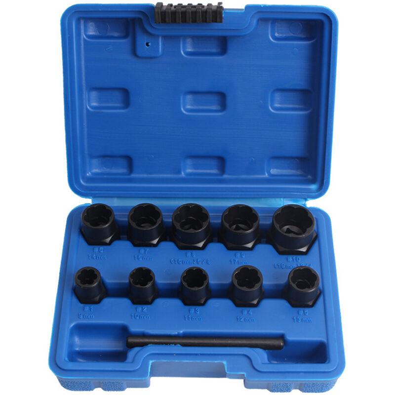 Happyshopping - 11pcs ensemble de douilles d'extracteur de boulon d'ecrou outils de suppression de boulon rouille endommages,modele?: 1 jeu