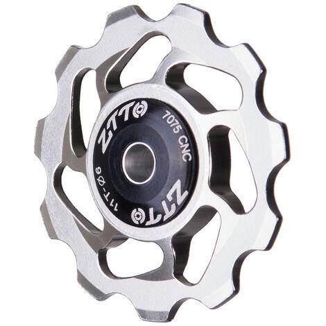 11T VTT Velo Derailleur Arriere Jockey Roue Ceramique Roulement Poulie Velo De Route Rouleau De Guide 4mm 5mm 6mm, modele: Argent