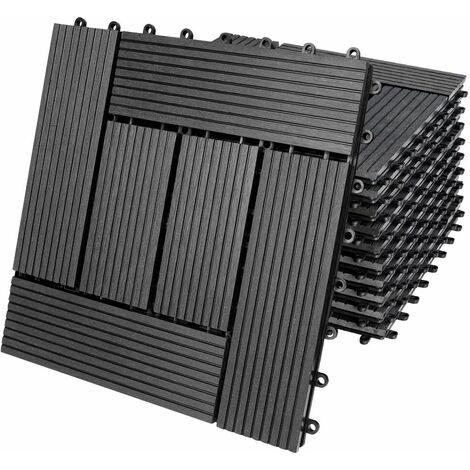 11x 22x 44x Baldosas con sistema de fijación por clips de madera compuesta WPC 30 x 30 cm - modelo a escoger