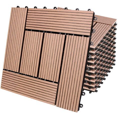 11x 22x 44x Dalles clipsables en bois composite WPC 30 x 30 cm - Modèle au choix 11x Mosaik terrakotta (de)