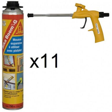 11x aérosols Sika Boom-G + Pistolet Mousse polyuréthane expansive polyuréthane isolante 750ml pistolable Sika