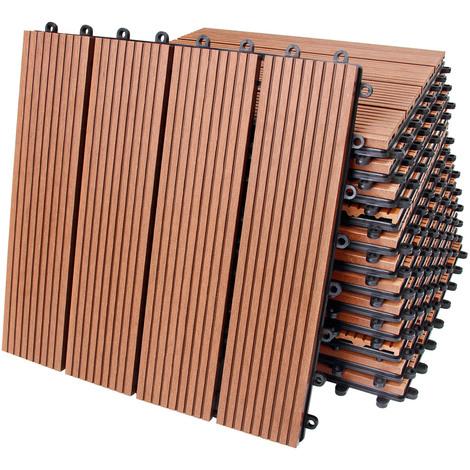 11x dalles de terrasse en bois composite wpc classique terre cuite