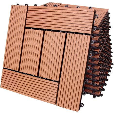 11x dalles de terrasse en bois composite wpc mosaïque terre cuite