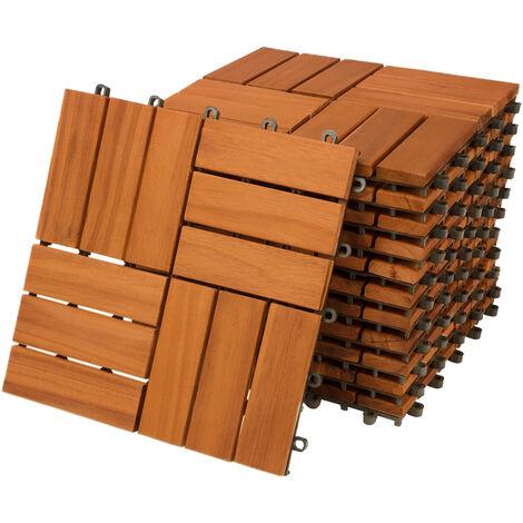 11x Dalles de terrasse en bois d'acacia pour 1m² - 30 x 30 cm Jardin extérieur