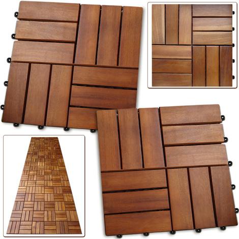 11x dalles de terrasse en bois pour 1m en bois d 39 acacia. Black Bedroom Furniture Sets. Home Design Ideas