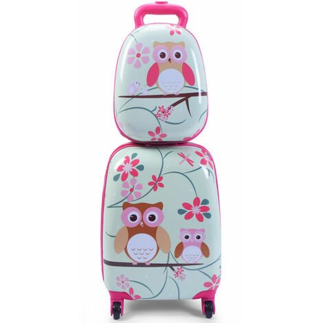 12'' 16'' ABS Kids Backpack Luggage Set Children Suitcase Travel School 2 IN 1[Cute Owl]