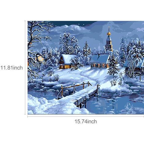 """main image of """"12 * 16 pouces bricolage peinture a l'huile sur toile peinture par numero Kit chalet dans la neige motif pour adultes enfants debutant artisanat maison decoration murale cadeau,modele : 30x40cm"""""""