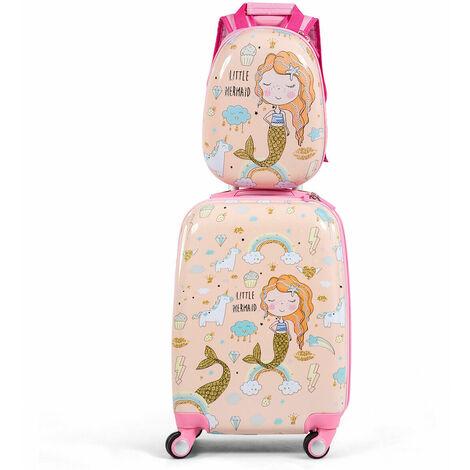12'' 18'' ABS Kids Backpack Luggage Set Children Suitcase Travel School 2 IN 1 Light Pink w/ Mermaid Pattern