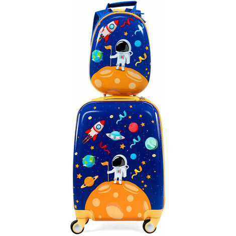 12'' 18'' ABS Kids Backpack Luggage Set Children Suitcase Travel School 2 IN 1 Navy Blue w/ Astronaut Pattern