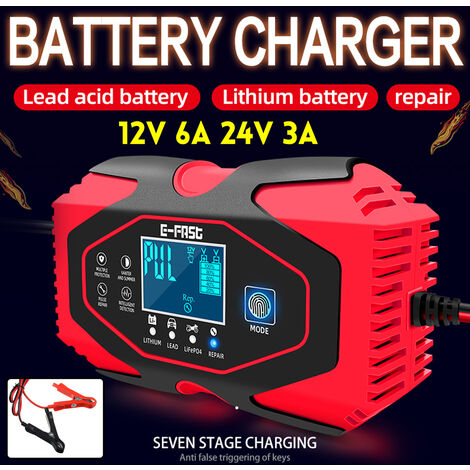 12 / 24V Smart Car Battery Charger Auto Repair Lead Acid LCD Pulse LCD Pulse / Lithium (Red, EU Plug 7 Step Charging)