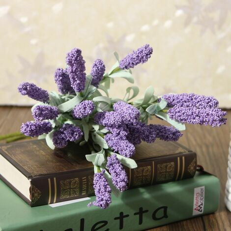 12 Artificial Silk Lavender Flower Bouquet Heads for Home Wedding Party Garden Office (Light Purple)