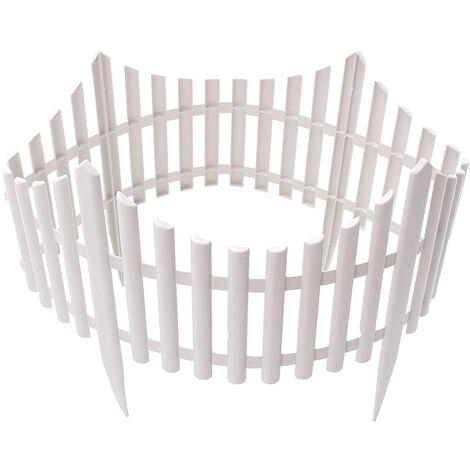 12 Barrière Grille de piquet de bordure de jardin en bord de pelouse à effet de bois en plastique blanc