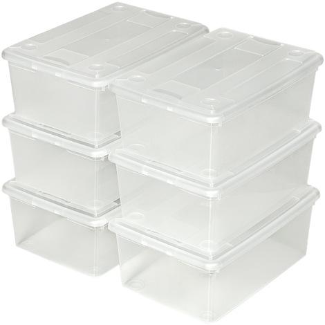 12 Boites de Rangement en Plastique Transparent 33 cm x 23 cm x 12 cm