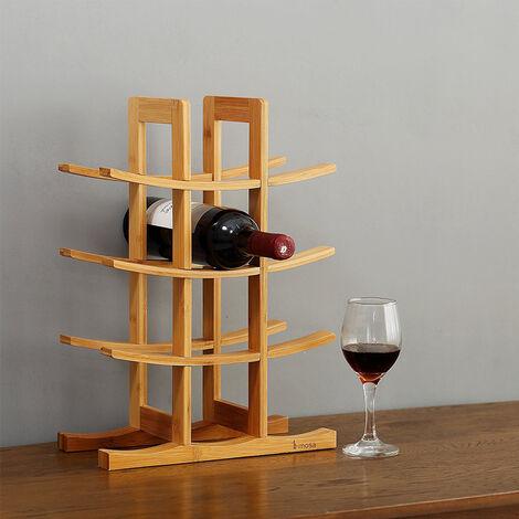 12 Bottles Curved Display Storage Holder Bar Cabinet Stand Wooden Wine Rack