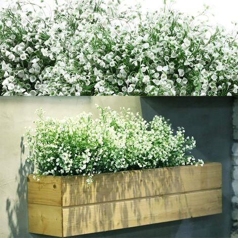 12 Bouquets Buissons Arbustes Artificiels Fleurs Artificielles Fleurs Plantes Résistantes à UV en Plein Air Buissons Arbustes Artificiels Décoratifs pour Arrangement Floral, Centre de Table (Blanc)