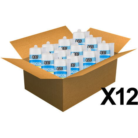 12 cartouches mastic silicone Translucide GEBSICONE W2 joints sanitaires