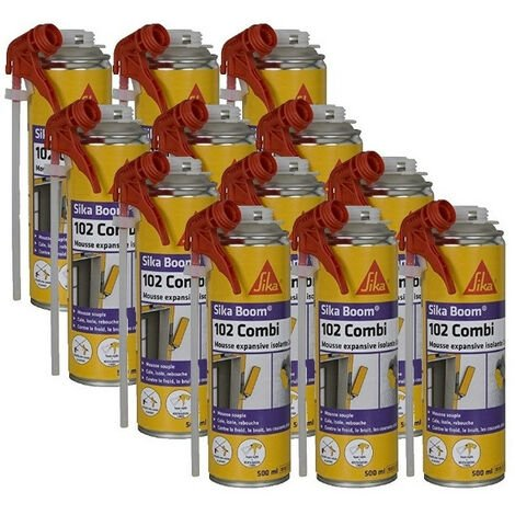 12 cartouches Mousse expansive isolante 2en1 Sika Boom 102 Combi 500ml SIKA