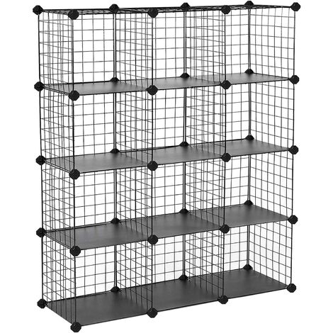 12 Cube Interlocking Storage Rack with Metal Wire Mesh Shelves Combination Cabinet Display Stand Unit Large Capacity Free Rubber Mallet 93 x 31 x 123 cm Black LPI34H