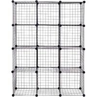 12 Cube Storage Shelf Rack DIY Wire Grid Bookcase Display Cabinet Organiser