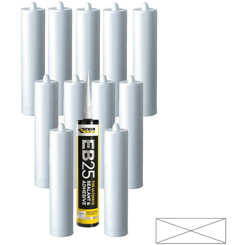Image of 12 EB25 Ultimate Sealant Adhesive White Sanitary Mould Resistant 300ml - Everbuild