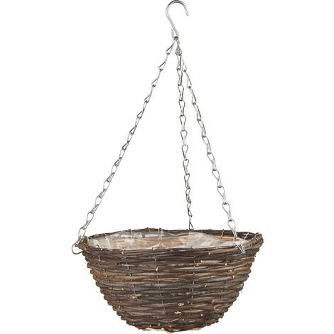 12 Inch Hanging Basket Black Rattan
