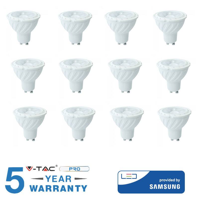 12 LAMPADINE V-TAC GU10 Faretto Spotlight 6,5 W Luce Bianca 3000K 4000K 6400K-Naturale