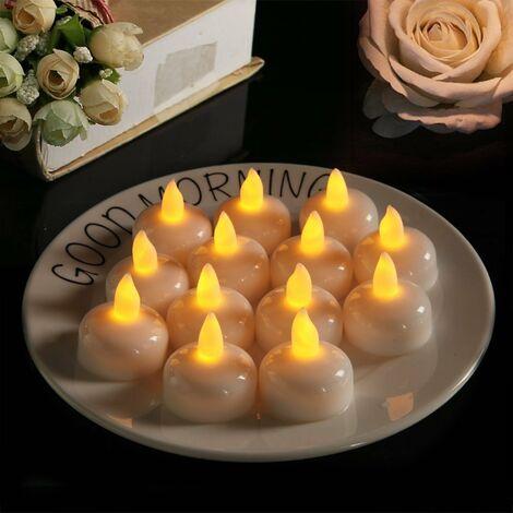 12 LED Bougie Flottante sans Flammes, Batterie éTanche LumièRes De Thé LED Vacillantes Flotter sur l'eau pour Mariage, FêTe, Centre De Table, Piscine Et Spa (Flash jaune)
