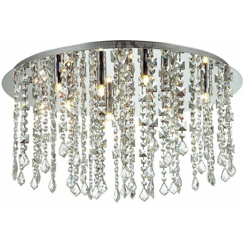 Image of 12-light chrome Shiraz crystal ceiling light