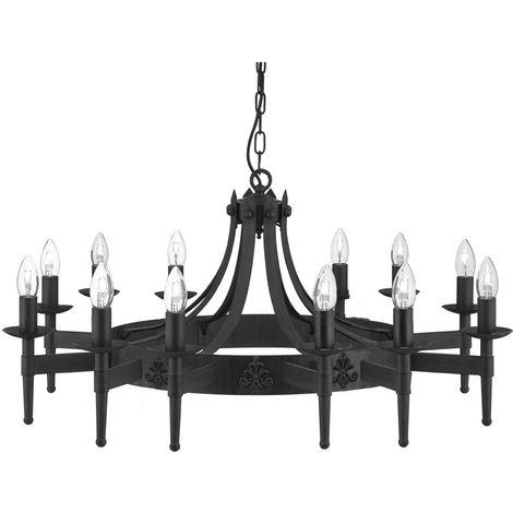 12 Light Matt Black Gothic Ceiling Fitting