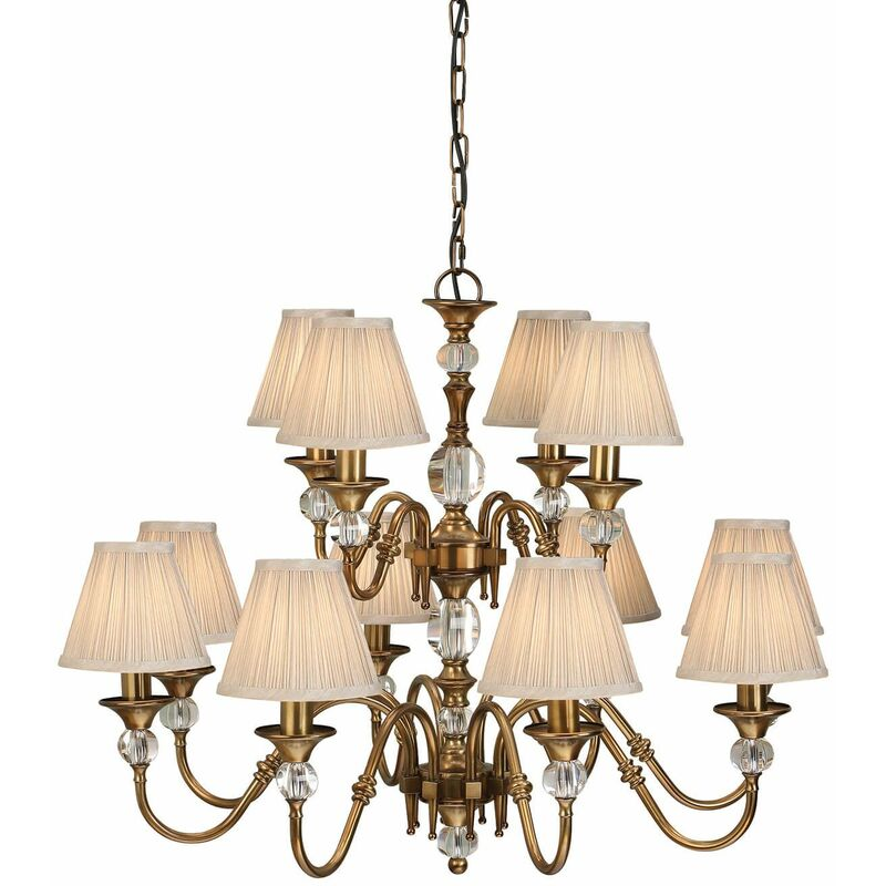 Image of 12-light pendant lamp Polina, antique brass and crystal, beige lampshades