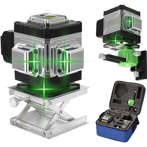 12 Lignes Laser Niveau 3 ¡ã Autonivelant Fonction Outil De Nivellement Omnidirectionnel Au Sol Et Mur Autocollant Avec Vertical Horizontal Oblique Ligne