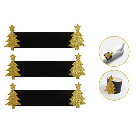 12 Napkin Rings Paper Christmas Tree Xmas Table Set Festive Gold Glitter