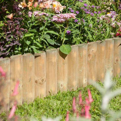 "12\"" Natural Timber Border Fence 1m"