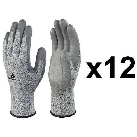 12 paires de gants tricot fibre coco enduction polyuréthane VECUT34GTG3 Delta Plus - plusieurs modèles disponibles