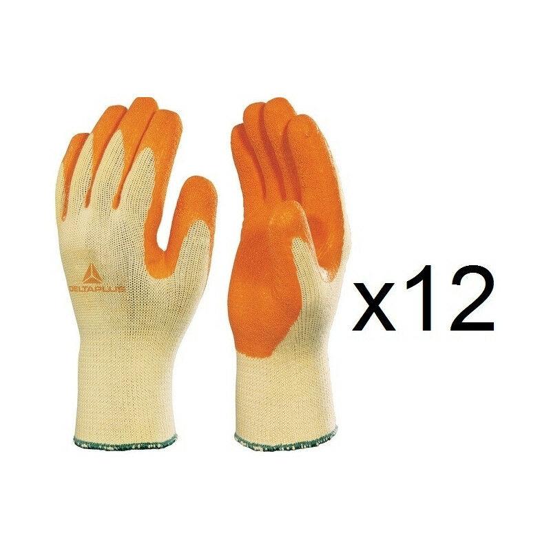 12 paires de gants tricot polyester / coton enduction latex VE703OR (10) - Taille : 10 - Delta Plus