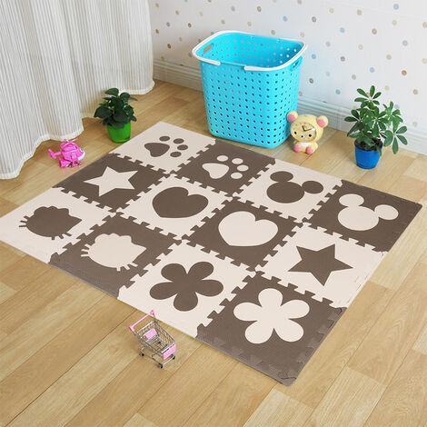 12 Pcs Café en Mousse EVA Motif Puzzle Sécurité Ramper Tapis Bébé Jouets Jeux pour Enfants